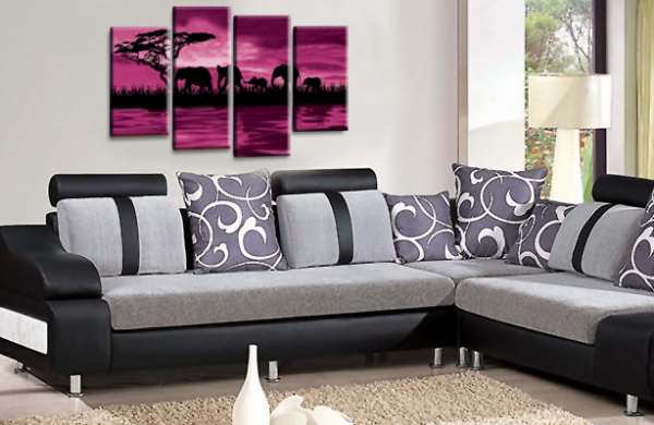 Sunset Elephant Canvas Wall Art Picture Purple Brown Cream